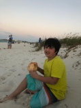 coconuts at sunset